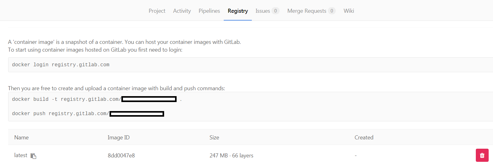 GitLab Registry Docker privé premier push